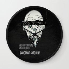 God Fucker Black Wall Clock