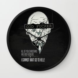 God Fucker Black Wall Clock