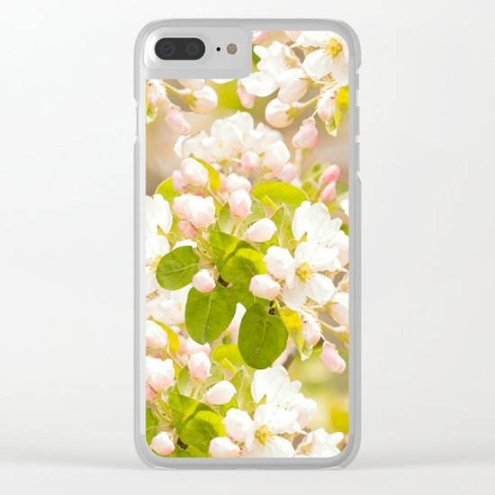 Apple tree branches with lovely flowers and buds on a pastel green background Clear iPhone Case