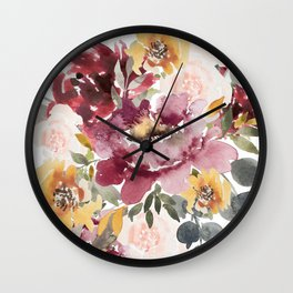 Large floral autumn Wall Clock