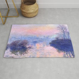 """Claude Monet """"Sunset on the Seine at Lavacourt. Winter Effect"""" Rug"""