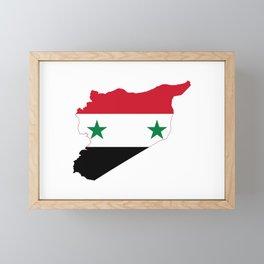 Flag Map of Syria Framed Mini Art Print