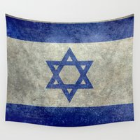 israel Wall Tapestries featuring The National flag of the State of Israel - Distressed worn version by LonestarDesigns2020 is Modern Home Decor
