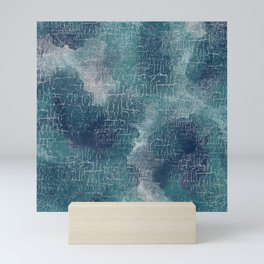 Abstract Grunge in Teal and Navy Mini Art Print