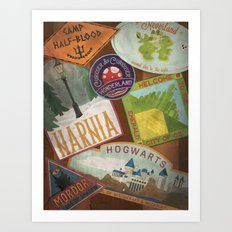 Fantasy Land Luggage Stamps  Art Print