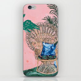Peacock Chair in Pink Jungle Interior iPhone Skin