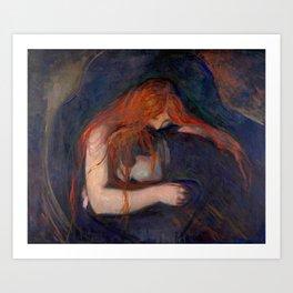 Edvard Munch - Love and Pain (The Vampire) Art Print