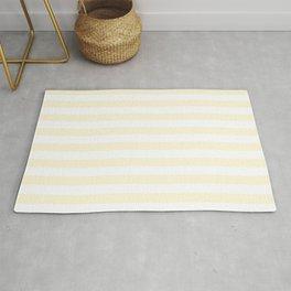 Narrow Vertical Stripes - White and Cornsilk Yellow Rug
