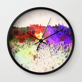 Edinburgh skyline in watercolor background Wall Clock