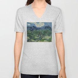 Vincent van Gogh - Olive Trees in a Mountainous Landscape Unisex V-Neck