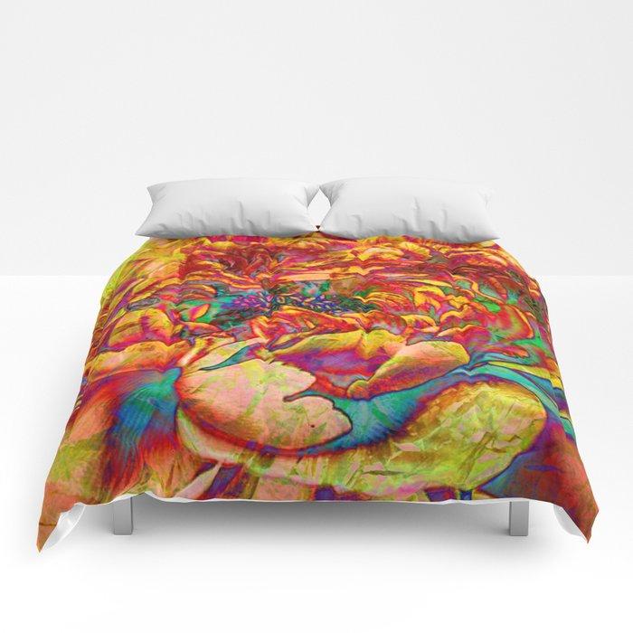 abstract peony Comforters