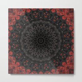 Red and Black Bohemian Mandala Design Metal Print