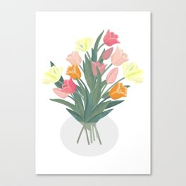 Bouquet of tulips in glass vase Canvas Print