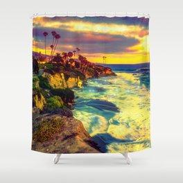 Glowing sea Shower Curtain