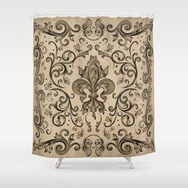 Vintage Fleur-de-lis ornament  Shower Curtain