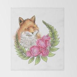 Fox in Bloom Throw Blanket