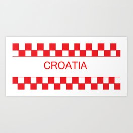 Red chess board Croatia Art Print