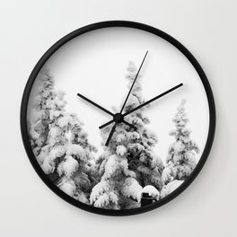 Snow Covered Pines Wall Clock