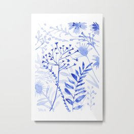 Chamomile Daisies, Eucalyptus, Fennel, Hypericum Floral Watercolor Painting by Tzechee Metal Print