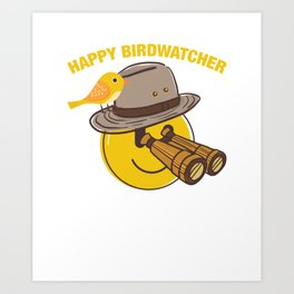 Happy Birdwathcher - Funny Emoji With Bird Art Print