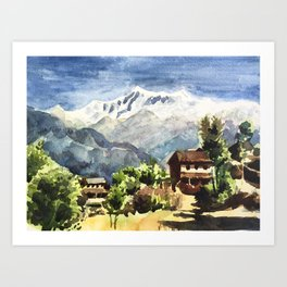 Himalayan Village in Nepal Art Print