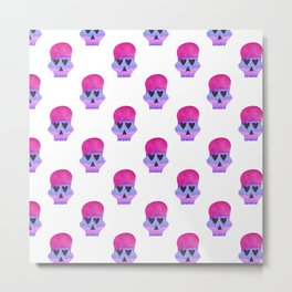 Skull with Heart Eyes Pattern in Pink Purple Metal Print