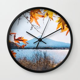 Japan watercolor painting #3 Wall Clock