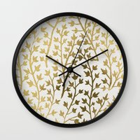 gold Wall Clocks featuring Gold Ivy by Cat Coquillette
