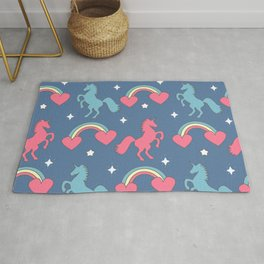 cute colorful pattern with rainbows, hearts, unicorns and stars Rug