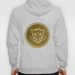 Wild Hog Head Angry Gold Coin Retro Hoody