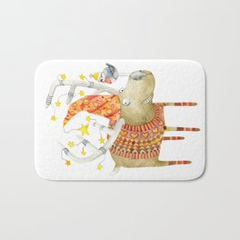 Christmas Reindeer watercolour art Bath Mat