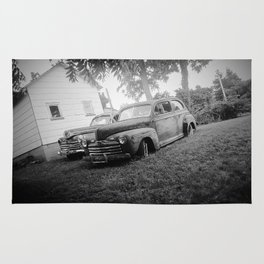 Black and White Classic Ford Cars Rug