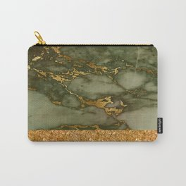 Green Marble with Gold and Glitter Carry-All Pouch