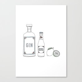 Gin tonic and lime illustration Canvas Print