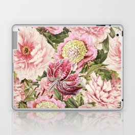 Vintage & Shabby Chic Floral Peony & Lily Flowers Watercolor Pattern Laptop & iPad Skin