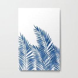 Palm Leaves Dark Blue Metal Print