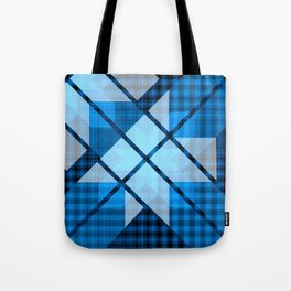Abstract Geometric Blue Plaid Design Tote Bag