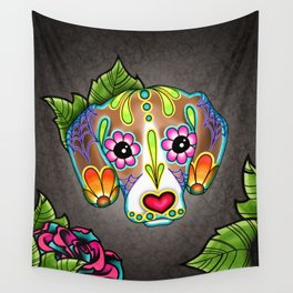 Beagle - Day of the Dead Sugar Skull Dog Wall Tapestry