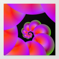 Spiral Spheres in Red Pink and Green Canvas Print