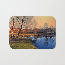 Winter mood on the river IV | waterscape photography Bath Mat