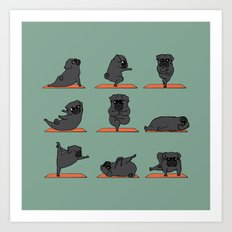 Black Pug Yoga Art Print