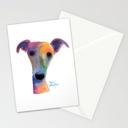 Nosey Dog Whippet Greyhound ' PANSY ' by Shirley MacArthur Stationery Cards