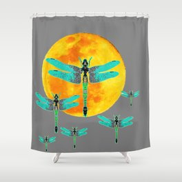 GREEN DRAGONFLIES FLYING TO MOON Shower Curtain