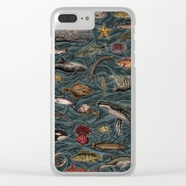 Sea & Ocean Life Maritime Pattern Clear iPhone Case