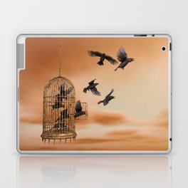 Freedom - Spread Your Wings and Fly Away - Crows and Bird Cage Artwork Laptop & iPad Skin