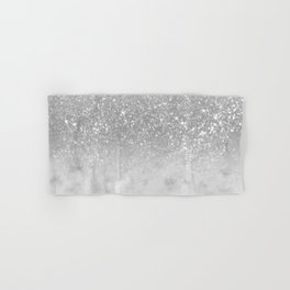 White Marble Silver Ombre Glitter Glam #1 #shiny #gem #decor #art #society6 Hand & Bath Towel