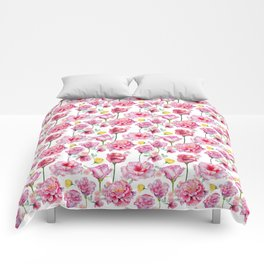 Hand painted blush pink yellow watercolor roses Comforters