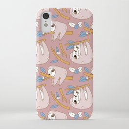 Sloth pattern in pink iPhone Case