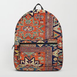 Southwestern Farmhouse V // 19th Century Colorful Red Yellow Blue Green Aztec Farm Stars Pattern Backpack
