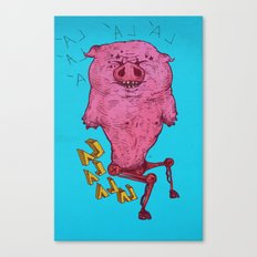 the dancing and disabled pig Canvas Print